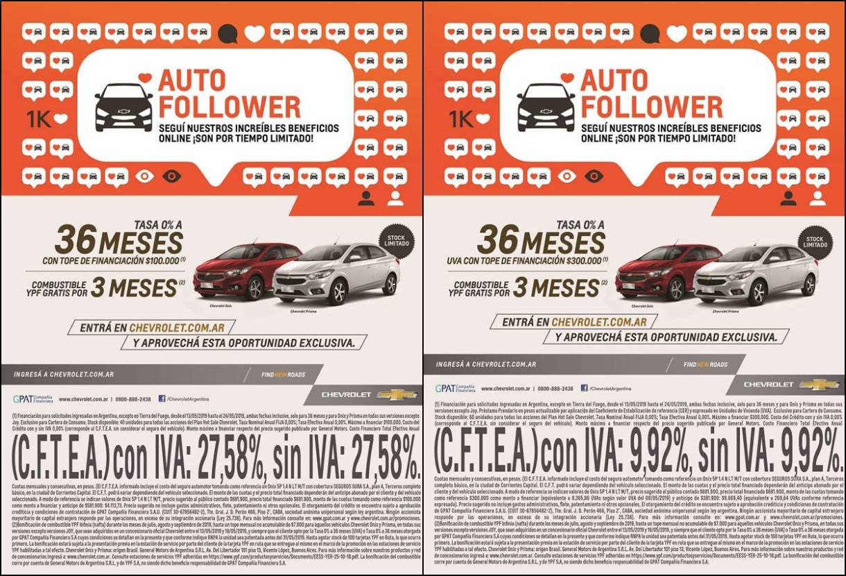 Chevrolet participa del Hot Sale con financiación exclusiva en modelos Onix y Prisma