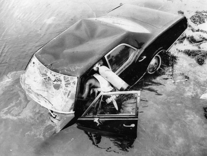 Crime scene, Poucha Pond and Rose Kennedy's Olds