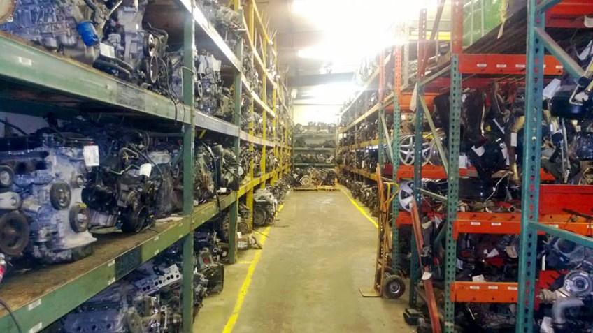 Engines on racks in warehouse