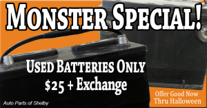 Used Batteries Only $25 + Exchange Thru Halloween 2014