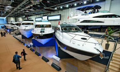General view of the Fairline Boats stand at the London Boat Show 2014, ExCeL, London.