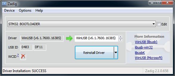 Installing the ZADIG Windows driver – KISS – Keep It Super Simple
