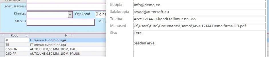 E-kirja saatmine otse programmist