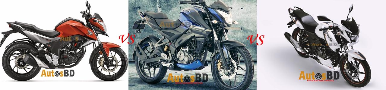 Comparison Honda CB Hornet 160R VS Bajaj Pulsar NS160 VS TVS Apache RTR 160