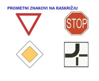 Prometni znakovi na raskrižju Autoškola Capitol Hill Zagreb