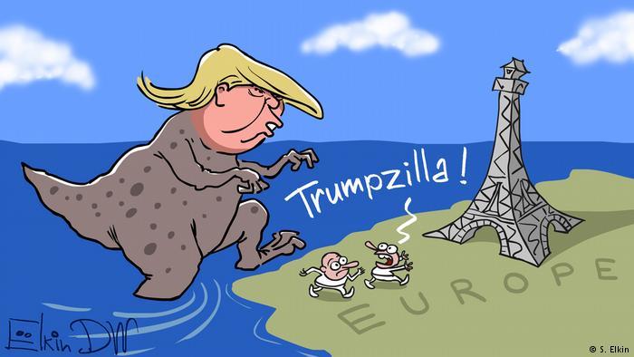 Трамп в виде монстра вструпает на землю Европы