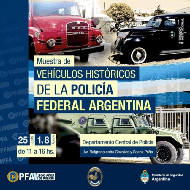 Muestra de vehículos históricos de la Policía Federal
