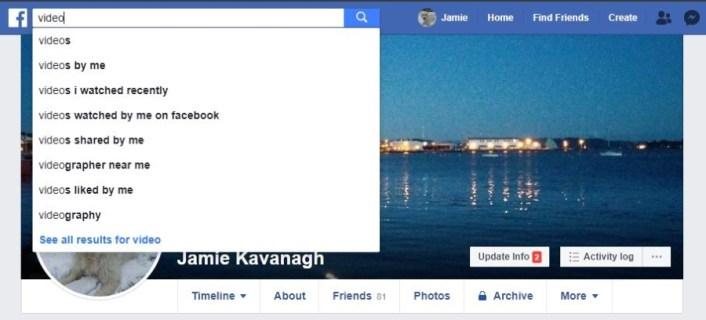 Как найти конкретные видео на Facebook