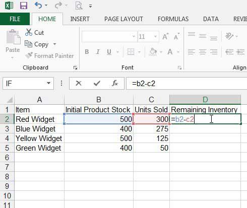 Как вычесть в Excel 2013 с помощью формулы