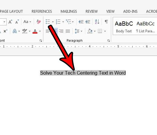 Как центрировать текст в Microsoft Word