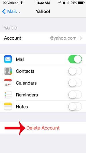 Как удалить учетную запись электронной почты Yahoo на iPhone