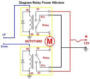 Wiring Diagram Relay Power Window |Rangkaian Relay power