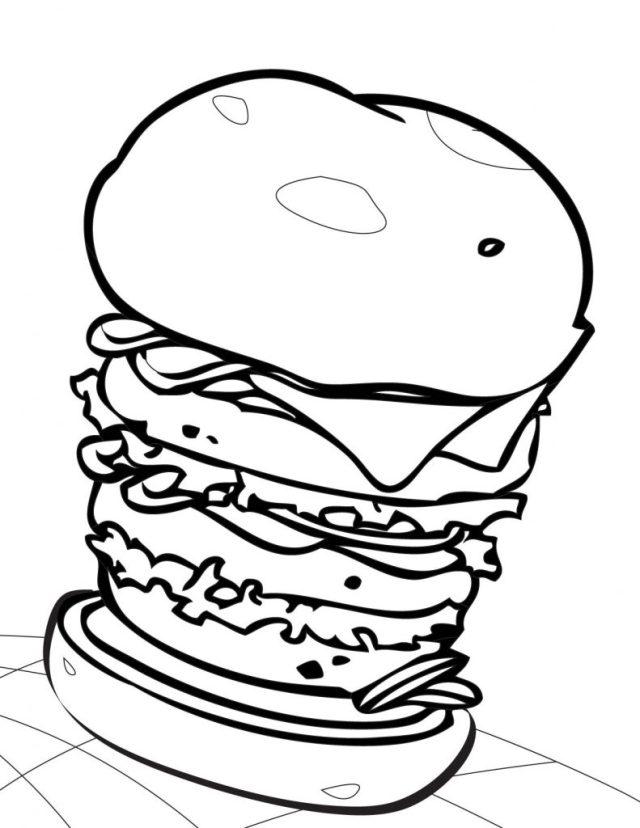 Coloriage Hamburger gratuit à imprimer et colorier