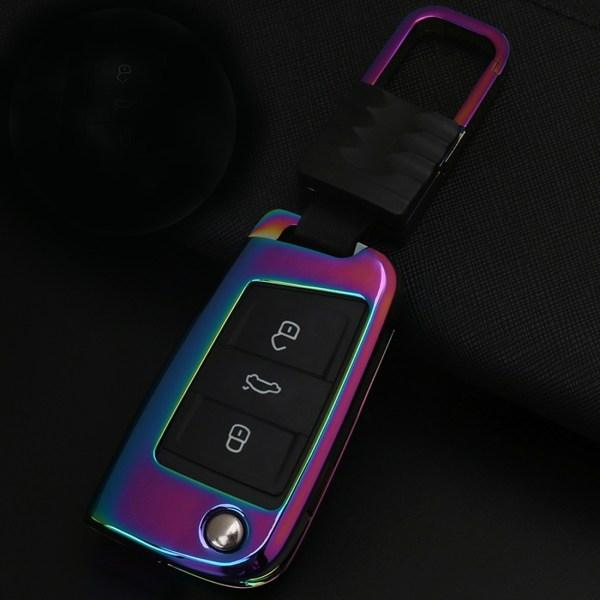 B stijl auto vierkante gesp sleutel shell zinklegering autosleutel shell case sleutelhanger voor skoda, willekeurige kleur levering