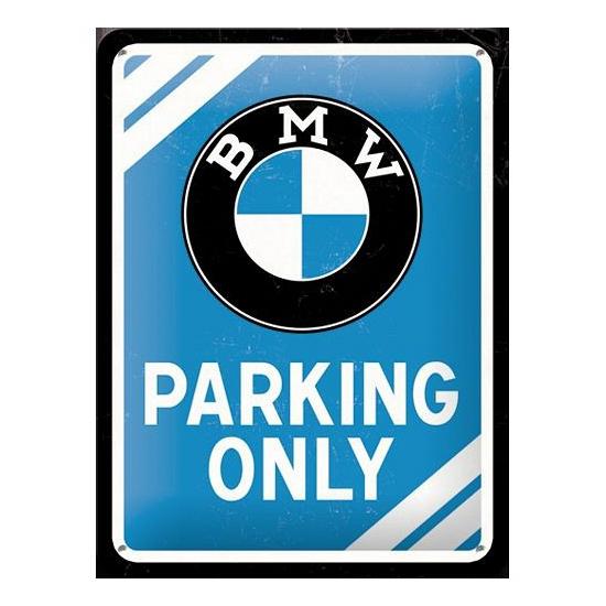 Klein metalen bord BMW parking only