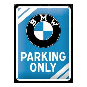 Klein metalen bord BMW parking only