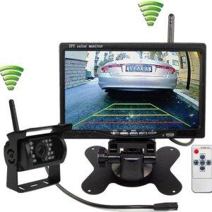 BrandWay Draadloze Achteruitrijcamera set met 7 inch scherm - Achteruitrij Camera Draadloos voor Auto / Camper / Caravan / Vrachtwagen / Landbouwmachines