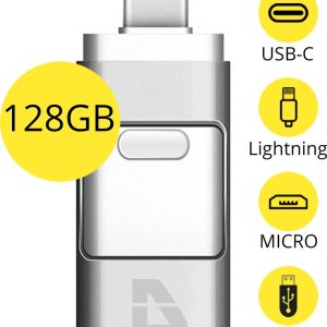 USB Stick 128GB - Flashdrive voor iPhone / iOS / Android / Windows 128GB - Flash Drive 4 In 1 - Douxe T05