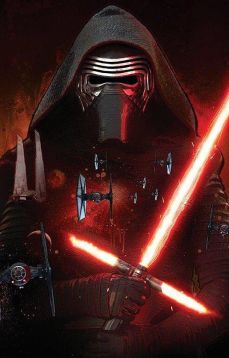This is an image of Kylo Ren with his cross sabar.