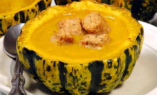 Squash Soup in Acorn Bowls