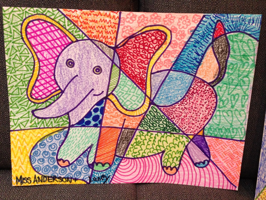 Romero Britto Inspired Geometric Patterned Animal Drawings