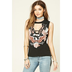 "Forever 21 ""born free cut out top"", $15"