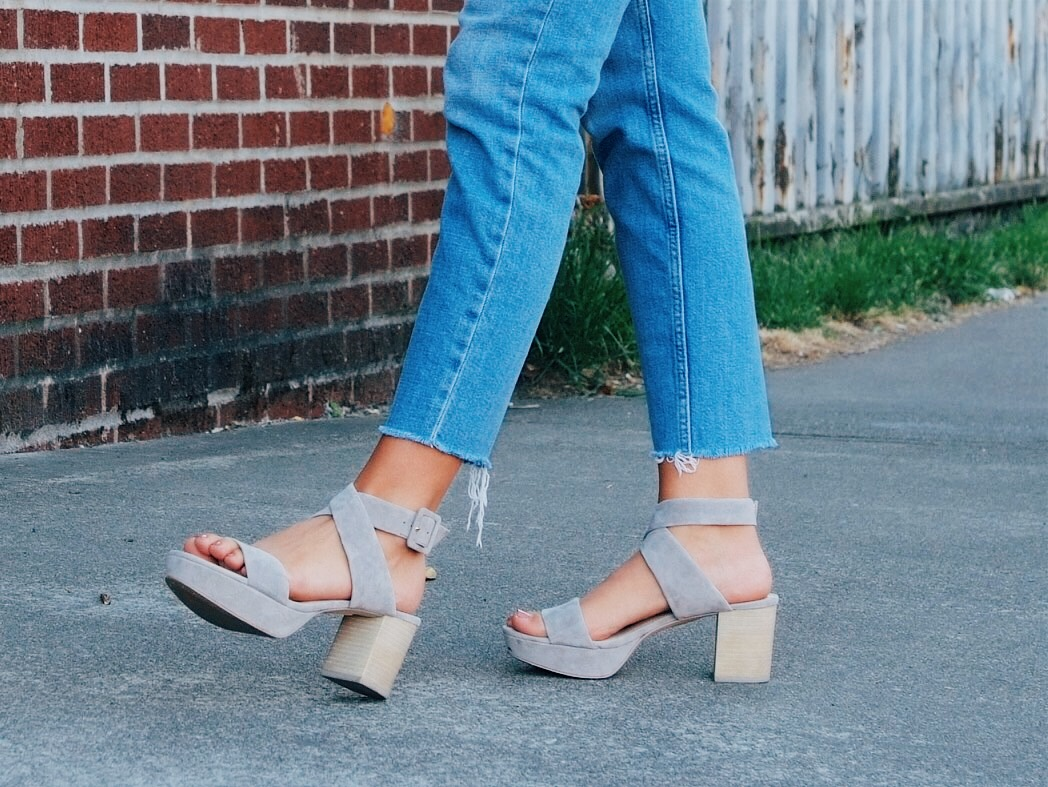 Cropped jeans with platform heels