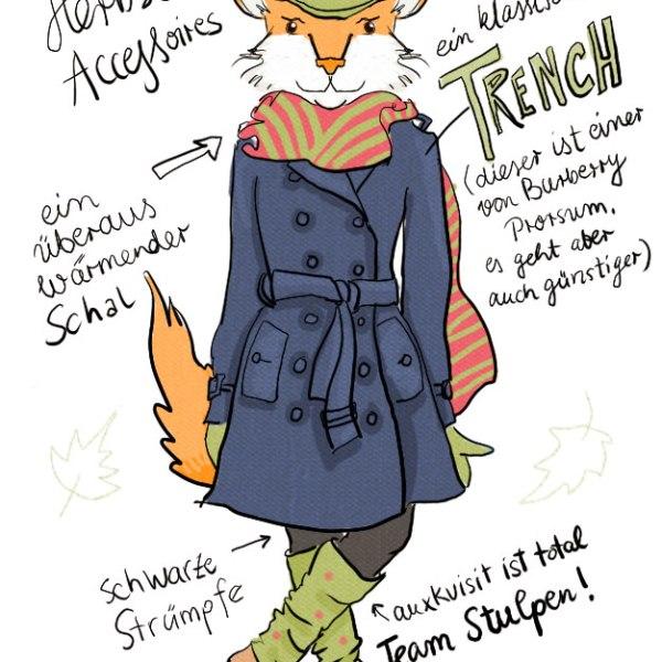 Ein Fuchs trägt einen blauen Trenchcoat und Stulpen