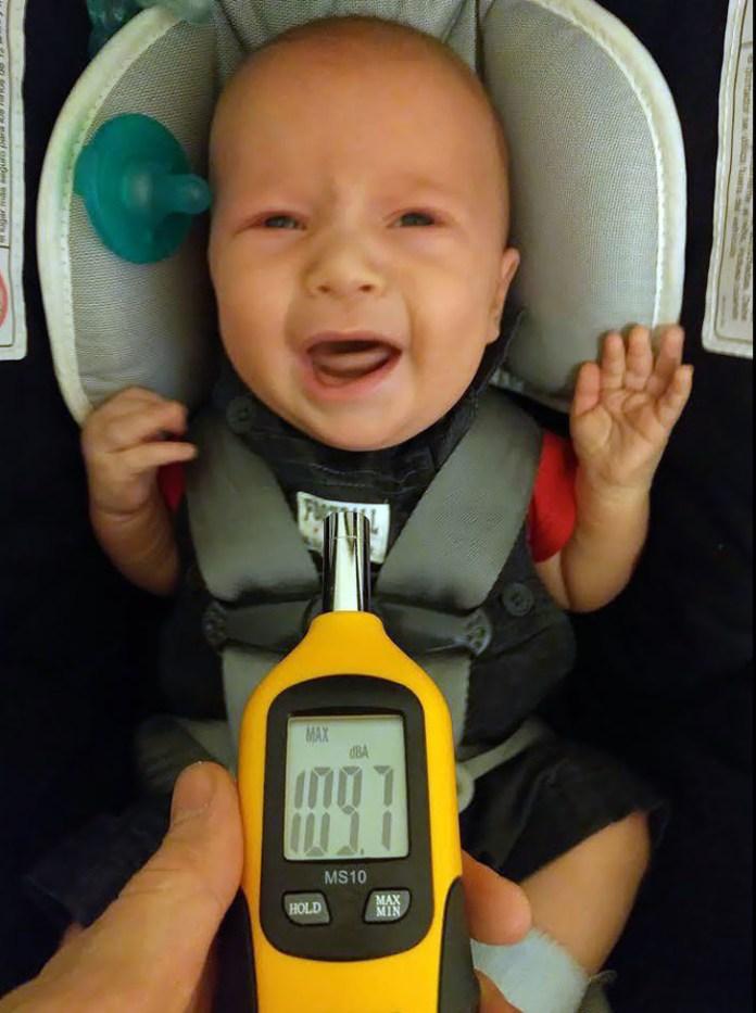 decibel meter and loud baby
