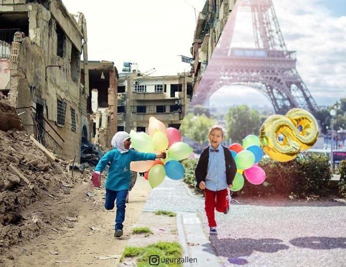 two kids and eiffel tower