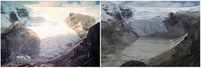 Qori Kalis Glacier, Peru. July 1978- July 2011
