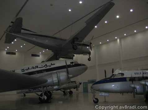 Overview of the hangar with the three main aircraft