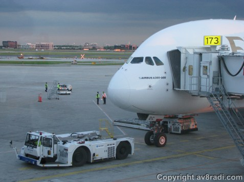Boarding! Looks like the pushback tractor is in place