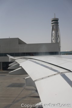 Taxing past DXB's Control tower. The tower is located between Terminal 1 and Terminal 3