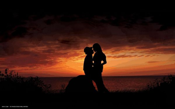 romantic kiss sunset love couple evening seaside shadow hd ...
