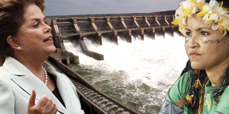 Präsidentin Dilma mit einem Staudammprojekt gegen Indigene