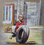 Happy days (Boy playing with a wheel)