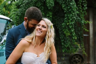 boho bride and groom at gum gully farm