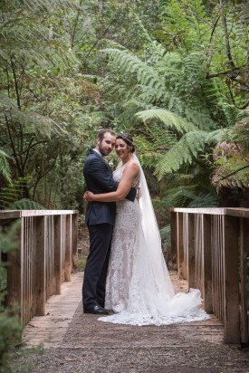 Bride and groom at Lyrebird Falls