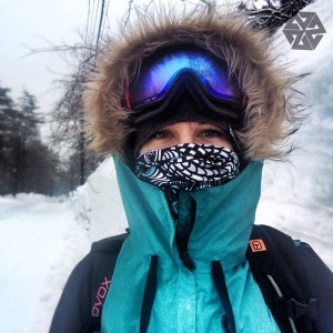 Artist Kelly Halpin wearing the Nicole Bishopp Faceshield in Japan
