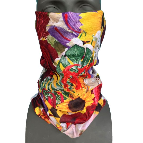 flower print necktube facemask for snowboarding and social distancing