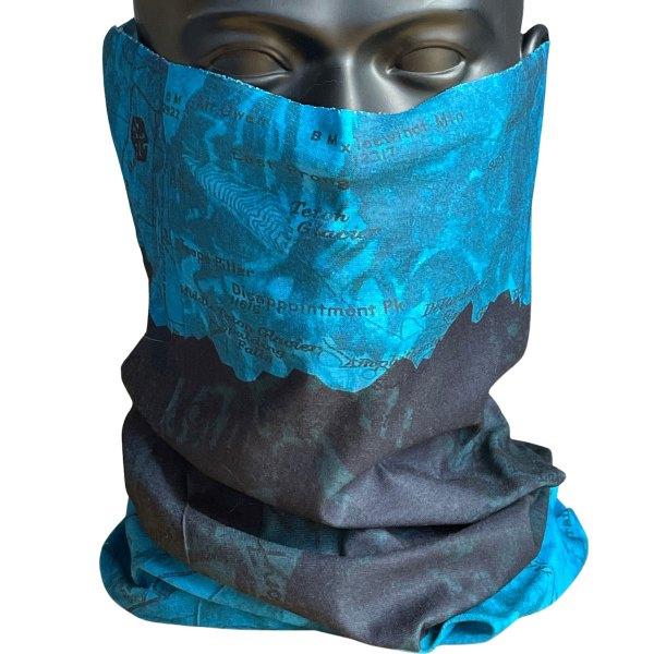 AVALON7 Blue Teton Map Neck Gaiter Face Mask for hiking Jackson Hole, Wyoming