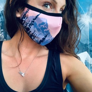 Breathable, comfortable Avalon7 Face Mask with pink mountains