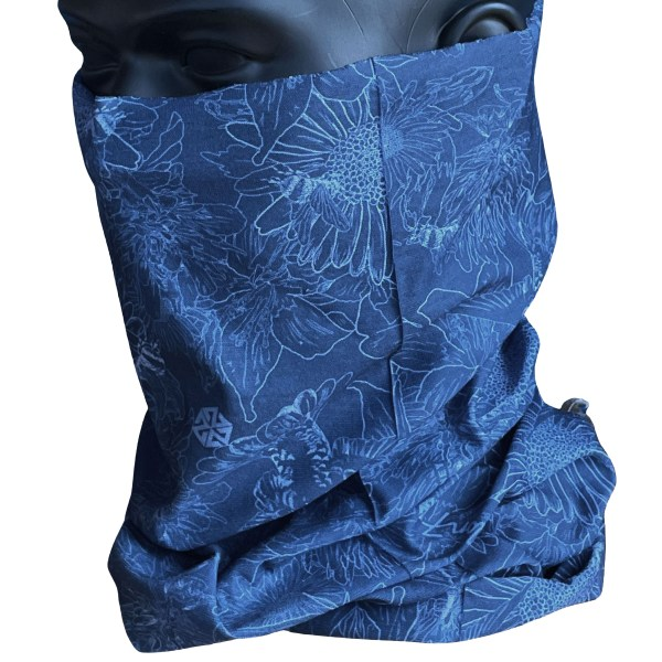 AVALON7 Blue flowers illustrated neck gaiter facemask by Katie Cooney Jackson Hole Wy