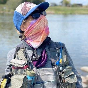 Rainbow Camo Pink Mesh Neck Gaiter sun mask for flyfishing