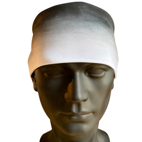 Black and white Ombre cooling headband for flyfishing and hiking