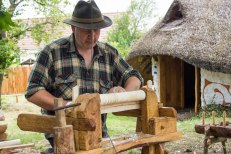 Modern bodger, Richard Devaney, with his lovely traditional oak lathe