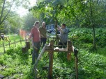 Preparing the pole lathe...