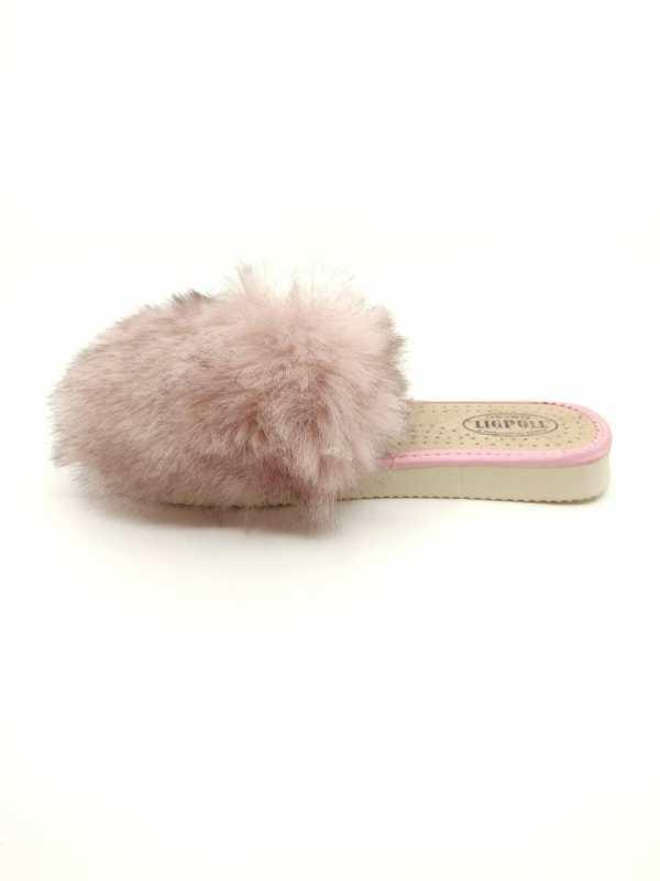 Įspiriamos kailinės šlepetės pilkos ir rožinės spalvos
