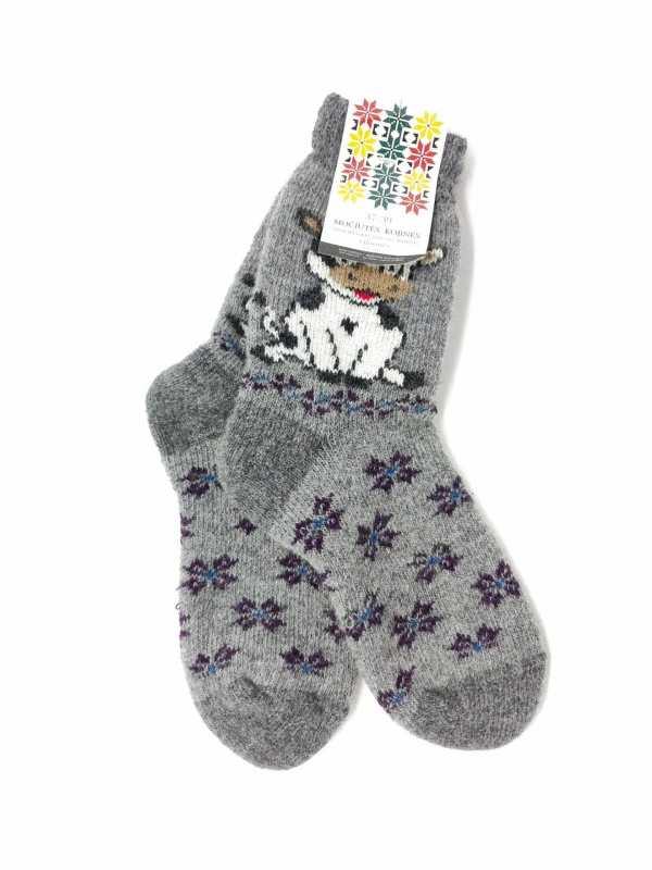 vilnonės kojinės su balta karvute